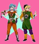 2girls aqua_eyes aqua_hair artist_name black_footwear blonde_hair boots bulma chinese_clothes cosplay dizim dragon_ball dragon_ball_(classic) hand_on_hip hat highres lunch_(dragon_ball) middle_finger multiple_girls one_side_up open_mouth outline sheath signature smile sword tenshinhan tenshinhan_(cosplay) wavy_hair weapon wristband yamcha yamcha_(cosplay) yellow_eyes
