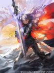 1girl armor armored_boots blue_eyes blue_hair boots breastplate cape clouds cloudy_sky day dragon falchion_(fire_emblem) fire_emblem fire_emblem:_kakusei fire_emblem_awakening fire_emblem_cipher gloves hirooka_masaki intelligent_systems long_hair looking_at_viewer lucina lucina_(fire_emblem) nintendo official_art outdoors scabbard sheath shield sky smile solo standing super_smash_bros. sword tiara unsheathed watermark weapon wind