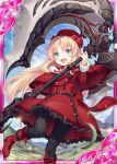 1girl :d akkijin ass_visible_through_thighs axe blonde_hair blue_eyes boots card_(medium) dress hat hat_ribbon holding holding_weapon huge_weapon long_hair looking_at_viewer official_art open_mouth pantyhose red_eyes red_footwear red_ribbon ribbed_dress ribbon shinkai_no_valkyrie smile weapon