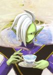 1boy ameneko blue_background dragon_ball dragon_ball_super earrings food_themed_earrings green_skin hair_over_one_eye jewelry long_sleeves looking_at_viewer male_focus mohawk orange_earrings pointy_ears potara_earrings solo steam white_hair zamasu