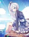 1girl bangs blue_eyes blue_skirt blue_sky closed_mouth clouds day earrings ecru floating_hair from_side jewelry long_hair looking_at_viewer miniskirt outdoors rwby shrug_(clothing) signature silver_hair sitting sketch skirt sky smile snowflake_print soaking_feet solo swept_bangs very_long_hair weiss_schnee