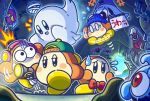 cave channel_ppp copy_ability flashlight flying_sweatdrops ghost horror_tramp kimodameshi kirby kirby_(series) mumbies_(kirby) official_art scared waddle_dee