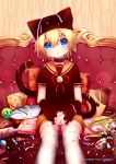 1boy absurdres alalen animal_hat bell blonde_hair blue_eyes blush candy candy_cane cat_hat chips choker fish food hair_between_eyes hat highres kagamine_len lollipop looking_at_viewer male_focus open_mouth potato_chips sailor_collar short_shorts shorts thigh-highs vocaloid white_legwear