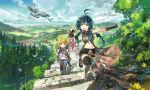 2boys 2girls backpack bag bird black_eyes black_hair blonde_hair blue_eyes blue_hair blurry braid capelet city closed_eyes clouds depth_of_field fang fantasy fingerless_gloves gloves highres hill horizon konno_takashi landscape long_hair looking_back looking_up midriff multiple_boys multiple_girls navel ocean open_mouth original outdoors redhead river scabbard scenery sheath short_hair shorts sidelocks signature single_braid sky smile spiky_hair stairs standing standing_on_one_leg sword thigh-highs tree walking weapon weapon_on_back