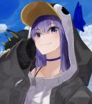 1girl absurdres animal_costume animal_hood bangs black_jacket blue_choker blue_ribbon choker collarbone commentary_request day fate/grand_order fate_(series) hair_between_eyes highres hood jacket long_hair looking_at_viewer meltryllis meltryllis_(swimsuit_lancer)_(fate) outdoors penguin_costume penguin_hood purple_hair ribbon shirokinaco sleeves_past_fingers sleeves_past_wrists smile solo swimsuit