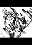 2boys anger_vein arm_grab commentary_request deadpool dutch_angle gachimuchi greyscale highres k-you_(pixiv) male_focus marvel mask monochrome multiple_boys parody spider-man spider-man_(series) submission_hold wrestling