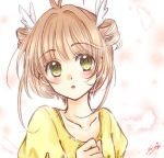 1girl blush brown_hair cardcaptor_sakura collarbone drill_hair feathers hair_feathers kanaoto_neiro kinomoto_sakura lowres parted_lips portrait shirt short_hair_with_long_locks sidelocks signature sketch solo white_feathers yellow_shirt