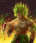 1boy abs blank_eyes broly_(dragon_ball_super) crying dragon_ball dragon_ball_super dragon_ball_super_broly facial_scar green_hair kim_yura_(goddess_mechanic) male_focus muscle scar scar_on_cheek shirtless solo streaming_tears super_saiyan_full_power tears twitter_username upper_body wristband