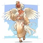 1girl arm_up bird brown_eyes chick commentary_request feathered_wings full_body japanese_clothes kimono multicolored_hair niwatari_kutaka obi redhead sandals sash short_hair smile solo tail toes touhou two-tone_hair walking white_hair wings yudepii