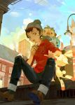 1boy a-shacho beanie brown_eyes brown_hair city clock clock_tower clouds eating from_below grookey hat highres lamppost looking_down male_focus male_protagonist_(pokemon_swsh) open_mouth pants pants_rolled_up pokemon pokemon_(creature) pokemon_(game) pokemon_swsh scorbunny shoes short_hair sitting sky sobble torn_clothes torn_legwear torn_pants tower