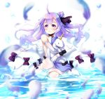 1girl ahoge azur_lane bare_shoulders blurry blush collarbone commentary_request depth_of_field doll_hug dress elbow_gloves feathers gloves hair_bun hair_ribbon long_hair looking_away looking_up nitchi ocean one_side_up partially_submerged purple_hair ribbon see-through side_bun solo stuffed_alicorn thigh-highs unicorn_(azur_lane) violet_eyes water_drop wet white_background white_dress white_gloves white_legwear wind zettai_ryouiki