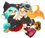 1other 2girls ;d aqua_eyes aqua_hair bangs bike_shorts black_headwear black_shirt black_shorts black_sweater blunt_bangs blush collared_shirt commentary cross-laced_footwear domino_mask emblem fang full_body goggles goggles_on_head hat holding_hands inkling interlocked_fingers jellyfish_(splatoon) leaning_back leaning_forward long_hair long_sleeves looking_at_viewer mask miniskirt multiple_girls one_eye_closed open_mouth orange_eyes orange_footwear orange_hair pink_footwear plaid plaid_skirt pleated_skirt pointy_ears red_skirt riku_(ururi7610) shirt shorts simple_background single_vertical_stripe skirt smile splatoon_(series) squid sweater symbol_commentary tentacle_hair white_background white_shirt wing_collar