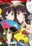 2girls artist_name bangs blue_flower brown_hair brown_nails closed_mouth commentary_request covered_mouth eyebrows_visible_through_hair fan fingernails floral_print flower folding_fan fox_mask fox_shadow_puppet green_eyes green_kimono green_nails hair_flower hair_ornament hand_up highres holding holding_fan japanese_clothes kimono long_hair mask mask_on_head mika_pikazo multicolored multicolored_nails multiple_girls nail_polish obi oni_mask original print_kimono red_eyes red_nails sash seigaiha signature striped upper_body vertical_stripes yellow_flower yellow_kimono