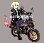 bandaid bandaid_on_face belt biker_clothes black_gloves denim earrings fire gloves ground_vehicle half_gloves jacket jeans jewelry lio_fotia looking_at_viewer male_focus minibike motor_vehicle motorcycle on_motorcycle pants promare ryosuketarou short_hair solo