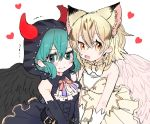2girls alternate_costume angel_costume angel_wings animal_ear_fluff animal_ears animal_print bare_shoulders belt black_wings blonde_hair blue_eyes blue_hair blush bow bowtie cat_ears cat_print collar commentary_request demon_costume demon_horns demon_wings detached_sleeves embarrassed extra_ears eyebrows_visible_through_hair fang feathered_wings frilled_collar frilled_skirt frills gloves heart highres hood horns ichi_0w0 kemono_friends kemono_friends_festival light_brown_hair multicolored_hair multiple_girls navy_blue_headwear navy_blue_skirt neck_ribbon official_alternate_costume open_mouth print_neckwear ribbon sand_cat_(kemono_friends) short_hair skirt sleeveless snake_print studded trembling tsuchinoko_(kemono_friends) white_gloves white_wings wings wrist_cuffs yellow_eyes