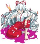 1girl anger_vein arm_on_knee barefoot bow breasts burning cigarette colored_shadow commentary_request crossed_legs eyebrows_visible_through_hair facing_viewer feet fire fujiwara_no_mokou hair_bow highres long_hair long_sleeves looking_at_viewer multiple_hair_bows pants red_eyes red_pants shadow shirt simple_background sitting small_breasts smoke smoking solo suspenders takuman135 toes torn_clothes torn_sleeves touhou very_long_hair white_background white_hair white_shirt
