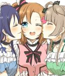3girls aoi_chiruko bangs blue_eyes blue_hair bow choker closed_eyes commentary_request earrings eyebrows_visible_through_hair gloves grey_hair hair_between_eyes jewelry kira-kira_sensation! kousaka_honoka long_hair love_live! love_live!_school_idol_project minami_kotori multiple_girls one_eye_closed one_side_up open_mouth orange_hair sandwiched smile sonoda_umi upper_body white_gloves