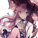 1girl bangs black_gloves brown_eyes brown_hair ecru gloves grin hair_between_eyes heterochromia holding holding_umbrella jacket long_hair long_sleeves looking_at_viewer multicolored_hair neo_politan parted_lips pink_eyes pink_hair pink_umbrella print_umbrella rwby sitting smile solo two-tone_hair umbrella very_long_hair white_background white_jacket