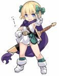 1girl :d ass_visible_through_thighs bangs bianca's_daughter blonde_hair blue_eyes blush boots bow cape dragon_quest dragon_quest_v dress eyebrows_visible_through_hair full_body gloves green_bow green_legwear hair_bow karukan_(monjya) kneehighs open_mouth outstretched_arm purple_cape short_dress short_hair simple_background sleeveless sleeveless_dress smile solo standing sword sword_behind_back translated v weapon weapon_on_back white_background white_dress white_footwear white_gloves