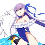 1girl bare_shoulders bird blue_eyes chan_co choker covered_navel cowboy_shot eyebrows_visible_through_hair fate/grand_order fate_(series) flat_chest frills hair_ribbon leotard long_hair meltryllis meltryllis_(swimsuit_lancer)_(fate) penguin purple_hair ribbon simple_background single_sidelock sleeves_past_wrists solo tongue tongue_out very_long_hair white_background