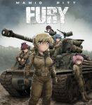 akemi_homura black_hair blonde_hair blue_eyes blue_hair boots braid combat_boots dirty_clothes dirty_face drill_hair fury_(movie) gas_mask glasses gloves ground_vehicle hairband kaname_madoka long_hair m4_sherman mahou_shoujo_madoka_magica miki_sayaka military military_uniform military_vehicle motor_vehicle mud multiple_girls parody pink_eyes pink_hair ponytail redhead sakura_kyouko shingyouji_tatsuya short_hair tank tomoe_mami tree twin_drills twintails uniform violet_eyes world_war_ii yellow_eyes