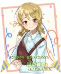 1girl absurdres apron bangs blue_shirt blush border brown_eyes character_name commentary_request confetti dated dress_shirt drill_hair eyebrows_visible_through_hair hair_ornament hairclip hands_clasped happy_birthday highres idolmaster idolmaster_cinderella_girls idolmaster_cinderella_girls_starlight_stage interlocked_fingers light_brown_hair long_sleeves looking_at_viewer medium_hair momochi_(hana_tubakino) morikubo_nono own_hands_together party_popper red_border shirt smile solo upper_body white_background