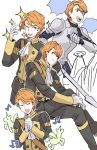 1boy armor closed_eyes epaulettes ferdinand_von_aegir fire_emblem fire_emblem:_three_houses gloves highres male_focus musical_note one_eye_closed open_mouth orange_eyes orange_hair pegasus sitting solo sparkle teeth uniform white_background