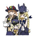 3girls anyan_(jooho) commentary_request demon_horns doughnut eating fingerless_gloves food girls_frontline gloves hat height_difference horns korean_commentary m870_(girls_frontline) multiple_girls one_eye_closed pastry_box police police_hat police_uniform policewoman sheriff sheriff_badge sr-3mp_(girls_frontline) super_shorty_(girls_frontline) uniform
