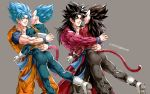 4boys armor artist_name black_hair blue_eyes blue_hair boots dougi dragon_ball dragon_ball_gt dragon_ball_super dual_persona frown gloves highres hug kim_yura_(goddess_mechanic) male_focus monkey_tail multiple_boys muscle open_mouth smile son_gokuu spiky_hair super_saiyan_4 super_saiyan_blue tail twitter_username vegeta white_footwear white_gloves wristband yellow_eyes
