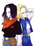1boy 1girl absurdres android_17 android_18 arm_at_side arms_at_sides back-to-back belt black_hair black_shirt blonde_hair blue_eyes brother_and_sister denim denim_skirt dragon_ball dragon_ball_z expressionless fanny_pack floating_hair hand_in_hair highres horizontal_stripes jeans light_smile long_sleeves looking_away miiko_(drops7) neckerchief orange_neckwear pants red_ribbon_army shirt short_hair short_sleeves siblings simple_background skirt smile standing striped striped_shirt twins upper_body waistcoat white_background