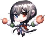1girl black_hair blue_eyes breasts chibi dual_wielding fumio_(rsqkr) heterochromia holding looking_at_viewer red_eyes samurai_spirits shiki_(samurai_spirits) short_hair simple_background solo white_background