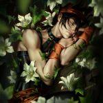 1boy black_hair closed_eyes death flower jojo_no_kimyou_na_bouken lily_(flower) lying narancia_ghirga rakavka spoilers vento_aureo