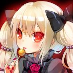 1girl bangs blonde_hair blush candy eyebrows_visible_through_hair food hair_between_eyes lollipop long_hair looking_at_viewer mvv original red_eyes smile solo tongue tongue_out twintails