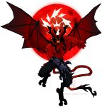 1boy artist_name bat_wings black_hair clawed_gauntlets claws commentary crossover deer-head demon demon_boy demon_horns demon_tail demon_wings devilman devilman_(character) devilman_crybaby english_commentary eyebrows fangs fusion gauntlets hair_wings head_fins head_wings hellboy hellboy_(comic) highres horns large_wings male_focus moon navel no_pupils red_moon red_skin short_hair sideburns signature tail tattoo transparent_background wings yellow_eyes