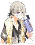 1boy akira_hou blue_eyes bottle contemporary fate/grand_order fate_(series) gao_changgong_(fate) male_focus silver_hair towel towel_around_neck watermark web_address white_background zipper
