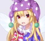 1girl american_flag_dress bangs blonde_hair blue_dress clownpiece commentary dress eyebrows_visible_through_hair fairy_wings grey_background hair_between_eyes hat highres jester_cap long_hair looking_at_viewer mozuno_(mozya_7) neck_ruff open_mouth polka_dot polka_dot_hat purple_headwear red_dress red_eyes simple_background solo star star_print striped striped_dress touhou upper_body white_dress wings