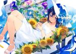 1girl achiki bangs bare_legs bare_shoulders black_hair blue_eyes blue_ribbon bottle closed_mouth clouds collarbone dress flower hair_between_eyes hat holding in_container looking_to_the_side lying open_toe_shoes original ramune ribbon shoes short_hair simple_background sky solo sun_hat sundress sunflower white_background white_dress white_footwear wind_chime