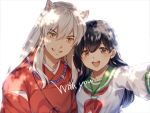 1boy 1girl :d animal_ears black_hair brown_eyes collared_shirt couple fox_ears green_sailor_collar grin higurashi_kagome inuyasha inuyasha_(character) japanese_clothes jewelry kimono long_hair long_sleeves looking_at_viewer motobi_(mtb_umk) neckerchief necklace open_mouth outstretched_arm red_kimono red_neckwear sailor_collar school_uniform serafuku shiny shiny_hair shirt silver_hair simple_background slit_pupils smile upper_body white_background white_shirt yellow_eyes