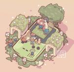 1boy 1girl bellsprout black_hair black_wristband charmander commentary creature english_commentary erika_(pokemon) eye_contact flower gen_1_pokemon gloom grass gym_leader japanese_clothes kimono looking_at_another oddish pants pidgeotto pink_background pokemon pokemon_(creature) pokemon_(game) pokemon_rgby pokemon_trainer red_(pokemon) shoes short_hair simple_background spiky_hair standing tangela tree vase vileplume weepinbell wristband yamato-leaphere