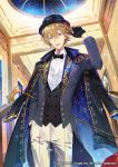 1boy black_gloves black_headwear blue_eyes bow bowler_hat bowtie cane formal glint gloves hair_between_eyes hat indoors jacket_on_shoulders male_focus official_art pants sid_story smile solo suit unagipang white_pants