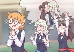 3girls blonde_hair blue_eyes blush brown_eyes brown_hair diana_cavendish flying_sweatdrops fourth_wall glasses gradient_hair grin hands_clasped kagari_atsuko kiss little_witch_academia lotte_jansson luna_nova_school_uniform multicolored_hair multiple_girls open_mouth orange_hair own_hands_together relationshipping school_uniform smile thought_bubble usbgrumble yuri