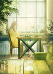 1girl blurry book brown_hair camera capri_pants chair child coffee_cup couch cup depth_of_field disposable_cup fusui highres holding holding_paper jar lamp long_hair mirror original pants paper plant potted_plant sandals signature sitting solo_focus sweater table window