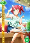 character_name dress green_eyes kurosawa_ruby love_live!_school_idol_festival love_live!_sunshine!! pink_hair short_hair smile wink
