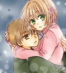 1boy 1girl 2016 blonde_hair brown_eyes brown_hair cardcaptor_sakura couple dated from_side green_eyes green_sweater hair_ribbon hug kanaoto_neiro kinomoto_sakura li_xiaolang long_sleeves looking_at_viewer lowres pink_ribbon pink_sweater ribbon short_hair signature sweater upper_body