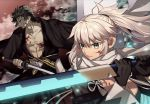 1boy 1girl abs black_eyes black_gloves black_hair black_kimono blood blood_on_face bloody_clothes closed_mouth collarbone commentary_request eyebrows_visible_through_hair fate/grand_order fate_(series) gloves grey_eyes grey_hair hair_between_eyes hijikata_toshizou_(fate/grand_order) holding holding_sword holding_weapon japanese_clothes katana kimono koha-ace long_hair looking_away meiji_ken okita_souji_(fate)_(all) okita_souji_(swimsuit_assassin)_(fate) open_clothes ponytail scarf short_hair sword twitter_username weapon white_scarf