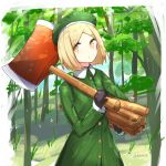 1girl axe bangs beret black_gloves blonde_hair blush carrying_under_arm closed_mouth collared_jacket commentary day english_commentary eyebrows_visible_through_hair fate/grand_order fate_(series) firewood forehead forest gloves green_headwear green_jacket hat holding holding_axe jacket long_sleeves looking_at_viewer nature outdoors parted_bangs paul_bunyan_(fate/grand_order) rocm_(nkkf3785) short_hair solo standing tree yellow_eyes
