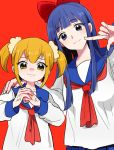 2girls 50yen blonde_hair blue_eyes blue_hair blush bow closed_mouth hand_on_another's_shoulder long_hair medium_hair multiple_girls poptepipic red_background red_bow school_uniform scrunchie simple_background twintails upper_body veins veiny_hands yellow_eyes yellow_sclera