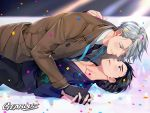 2boys artist_name black_gloves black_hair blue_eyes blush brown_coat brown_eyes coat confetti couple fingernails gearous gloves grey_hair hair_slicked_back half-closed_eyes hands_together ice interlocked_fingers katsuki_yuuri looking_at_another looking_down looking_up lying male_focus multiple_boys necktie shirt short_hair sparkle spotlight sweat sweatdrop upper_body viktor_nikiforov white_shirt yaoi yuri!!!_on_ice