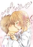 1boy 1girl blonde_hair blush brown_hair cardcaptor_sakura closed_eyes collarbone collared_shirt couple french_kiss from_side hair_ribbon hand_in_another's_hair hetero kanaoto_neiro kinomoto_sakura kiss li_xiaolang long_sleeves pink_ribbon profile ribbon shirt short_hair_with_long_locks sidelocks sketch speech_bubble upper_body white_shirt wing_collar