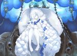 1girl after_suko azur_lane bangs bare_legs blue_eyes blue_flower blunt_bangs bob_cut cape commentary_request convenient_leg dress flower full_body highres holding holding_stuffed_toy jellyfish knees_up looking_at_viewer observer_zero_(azur_lane) partial_commentary pillow rigging short_hair siren_(azur_lane) sitting solo stuffed_toy white_cape white_dress white_hair white_skin